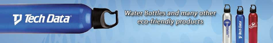 Water bottles, shopping bags, and many other eco-friendly promotional items